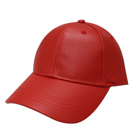 City Red Leather - City Hunter Lc200 Faux Leather Plain Baseball Cap Red