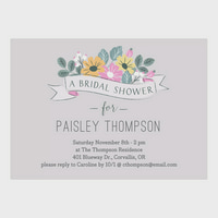 product image personalized wedding bridal shower invitation floral fete 5 x 7 flat