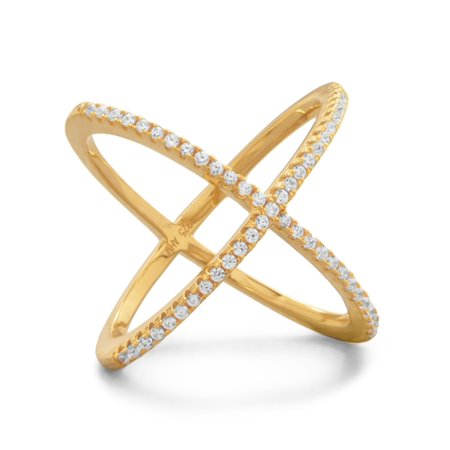 Criss Cross X Design Ring Gold-plated Sterling Silver with Cubic Zirconia (Cross Cross Gold Ring)