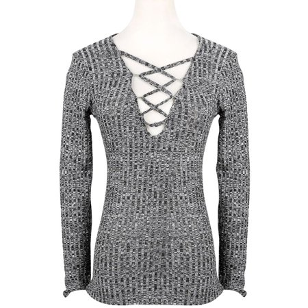 Simplee Clothing Autumn Charcoal Sexy v Neck Knitted tops Women Sweater Lace up Slim Long Sleeve Tops Elastic Cross Bodycon OL
