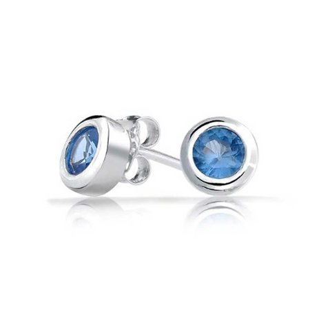 .50 Ct London Blue CZ Bezel Set Small Round Stud Earrings 925 Silver Simulated Topaz Cubic Zirconia 925 Sterling Silver Cubic Zirconia Bezel Set Earrings