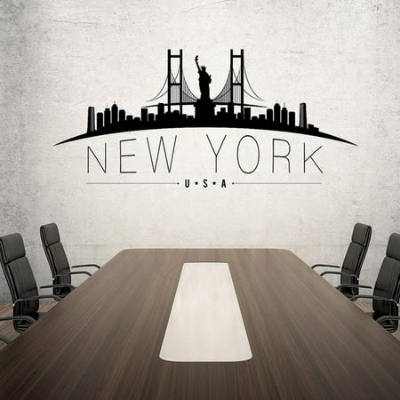 New York USA Wall Decal By Style & Apply - Wall Sticker, Vinyl Wall Art, Home Decor, Wall Mural - Sd4035 - - Island New York Sticker