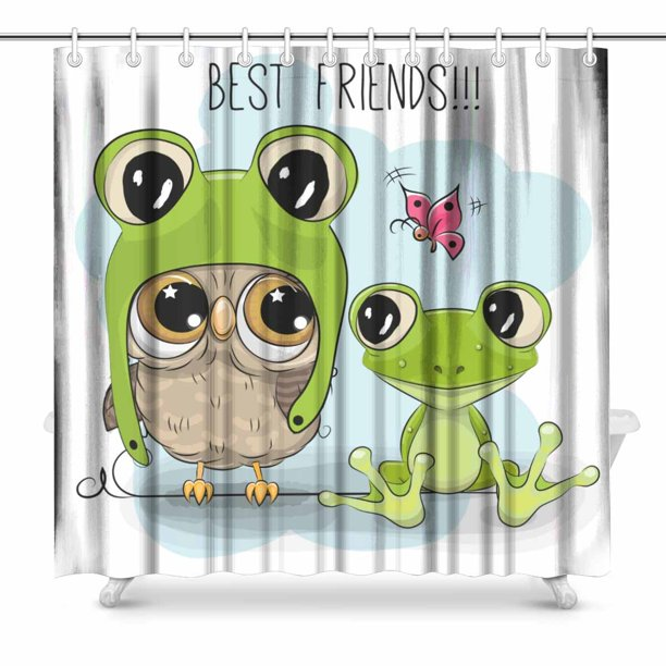 Mkhert Owl And Frog Shower Curtain Home