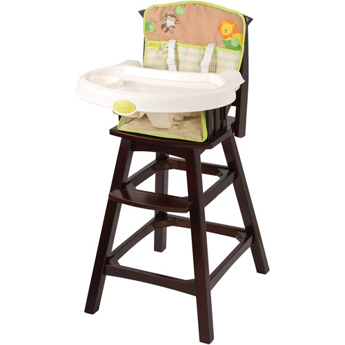 Summer Infant Classic Comfort Wood High Chair, Swingin' Safari
