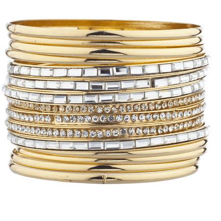 Lux Accessories goldtone Pave Rhinestone Baguette Stone Bracelet Set 15Pcs