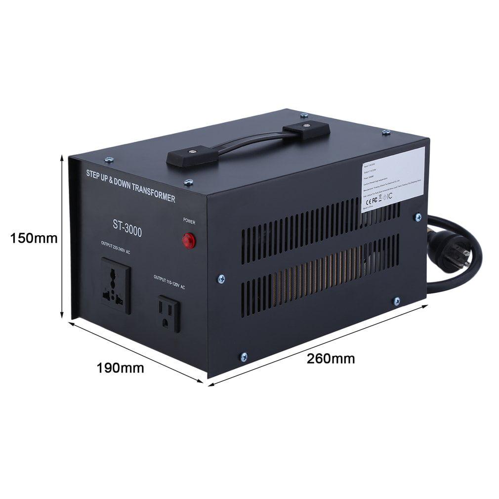 Elc T 3000 Watt Voltage Converter Transformer Step Up Down 110v 220v Circuit Breaker Protection