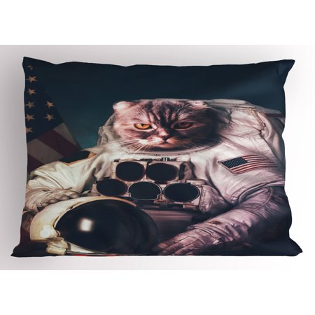 Space Cat Pillow Sham Vintage Image Astronaut Kitty with American Flag with Helmet Image, Decorative Standard Size Printed Pillowcase, 26 X 20 Inches, White Red And Dark Blue, by Ambesonne
