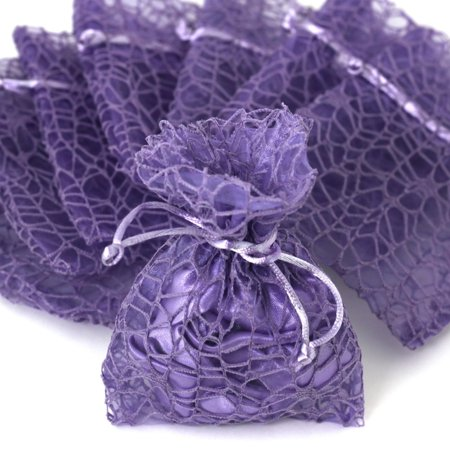30 Purple Organza Lace Gift Bags ( 7 x 11 ) Party Favor Fabric Birthday Treat Goody Bags - Medium (Pre Filled Goody Bags)