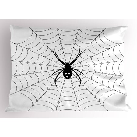 Spider Web Pillow Sham Poisonous Bug Venom Thread Circular Cobweb Arachnid Cartoon Halloween Icon, Decorative Standard Queen Size Printed Pillowcase, 30 X 20 Inches, Black White, by Ambesonne - Venom Halloween