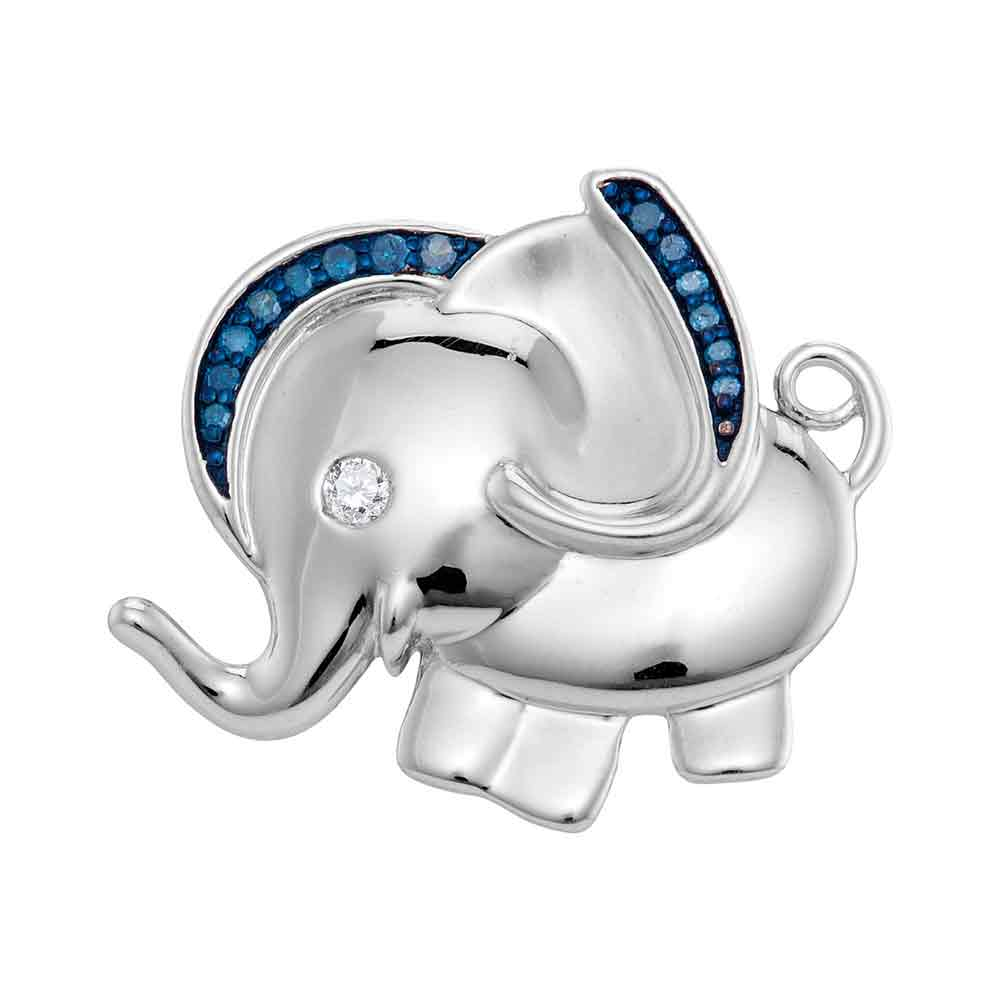 Sterling Silver Womens Blue Colored Diamond Elephant Char...