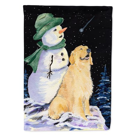 Golden Retriever with Snowman in Green Hat Garden Flag - Glow In The Dark Flag