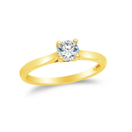14k Yellow Gold CZ Cubic Zirconia Round Engagement Ring (3/4ct. Center Stone) , Size 7