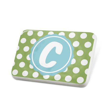 Porcelein Pin Monogram C Green Polka Dots Lapel Badge – NEONBLOND