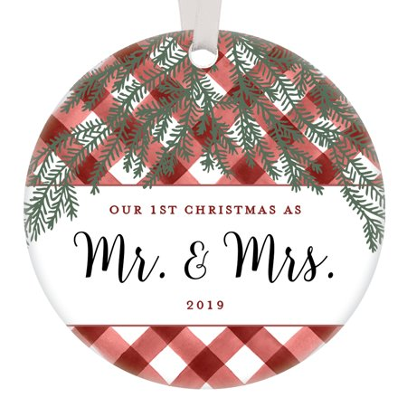 """First Christmas Married 2019 Ornament Newlywed Gift 1st Year Mr & Mrs Anniversary Present Couple Husband Wife Bridal Shower Idea Rustic Red Gingham Farmhouse Tree Decoration 3"""" Ceramic OR0873-1 ()"""