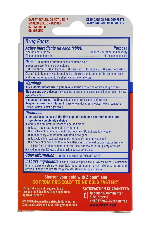 Zicam Cold Remedy Rapidmelts, 5 Tablets, Citrus Flavor - The Pre-Cold  Medicine