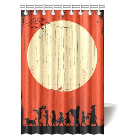 MYPOP Halloween Decorations Shower Curtain, Silhouette of Children Going Trick or Treating on a Wooden Board Fabric Bathroom Shower Curtain with Hooks, 48 X 72 Inches - Boarded Up Window Halloween Decoration