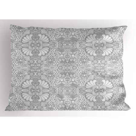 Flower Pillow Sham Floral Eastern Paisley Motif Inspired Lace Like Vintage Image Artwork Print, Decorative Standard Size Printed Pillowcase, 26 X 20 Inches, Black and White, by Ambesonne - Lace Vintage Pillowcase
