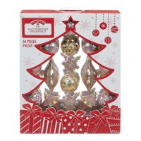 Holiday Time Shatterproof Ornaments, 54-Count, Pink Gold