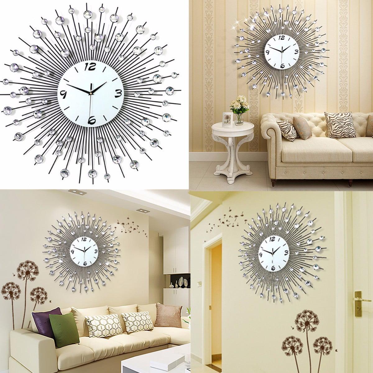 Luxury Scenic Iron Art Metal Living Room Round Diamond Wall Clock ...