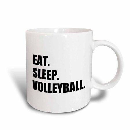 3dRose Eat Sleep Volleyball - black text - beach volley ball player sport fan, Ceramic Mug, 11-ounce (Black Beach Ball)