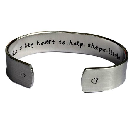 It Takes a Big Heart to Help Shape Little Minds - Teacher Gift Cuff Bracelet ...
