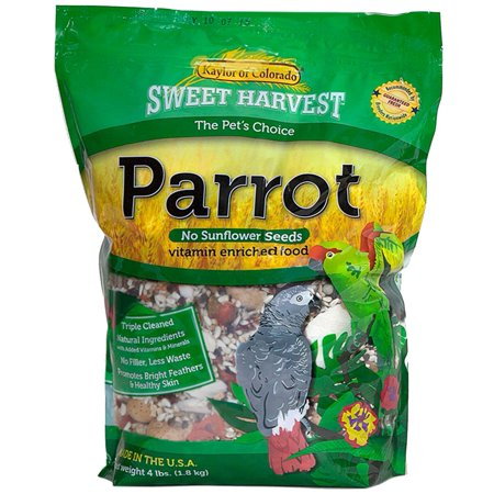 Parrot Bird Food (No Sunflower Seeds), 4 lbs Bag - Seed Mix for a Variety of Parrots, Premium Seed Mix for Parrots By Sweet Harvest