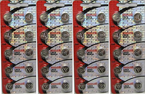 Genuine Maxell LR43 1.5v Cell Button Battery x 40 by Maxell