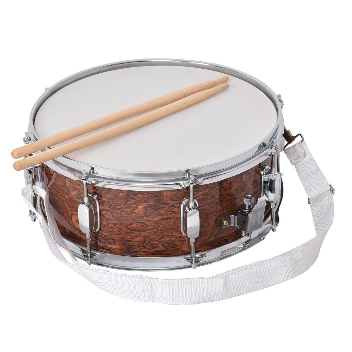 """New 14"""" x 5.5"""" Snare Drum w  2 Drumstick & Key & Strap Wood Shell Percussion Kit by"""