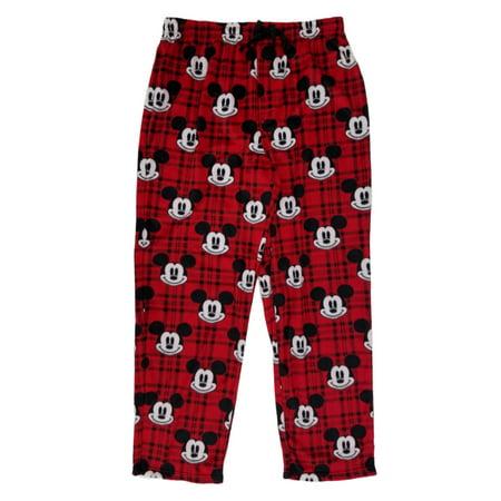 a8cf5a9b88cb9 Disney - Disney Mickey Mouse Mens Red Plaid Microfleece Sleep Lounge Pants  Pajama Bottoms - Walmart.com