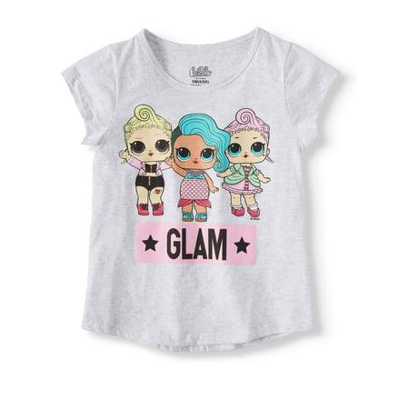 MGA L.O.L. Surprise! Doll Glitter Graphic T-Shirt (Little Girls & Big Girls) Flag Baby Doll T-shirt