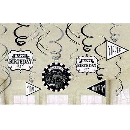 Happy Birthday 'Chalkboard' Hanging Swirl Decorations (12pc) (Birthday Board Ideas)