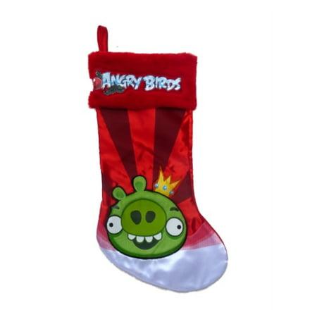red satin faux fur angry birds pig christmas stocking - Christmas Angry Birds
