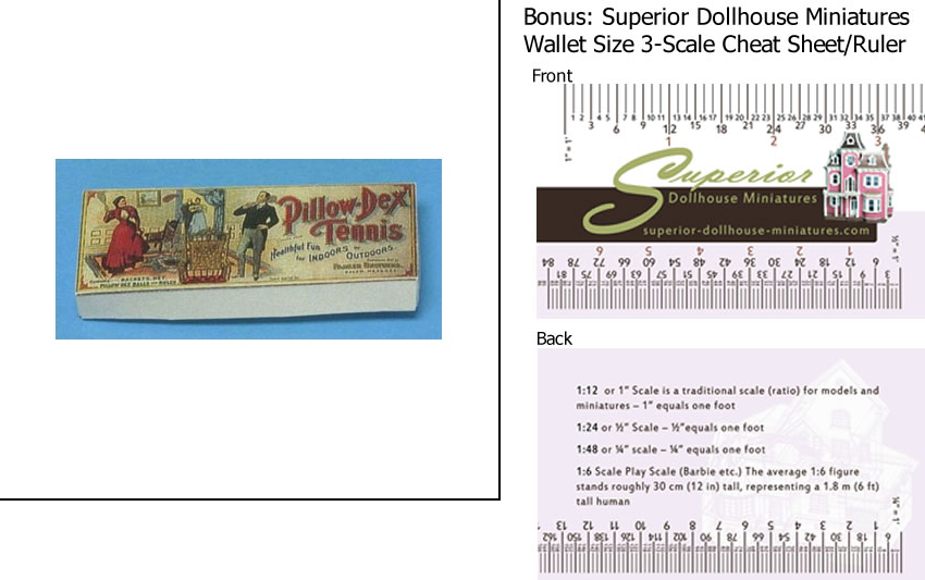 Dollhouse Miniature Scale Pillowdex Tennis Game Box-antique Reprod w 3-Scale Wallet Ruler by