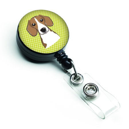 Checkerboard Lime Green Beagle Retractable Badge Reel -