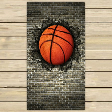 - PHFZK Sport Towel, Funny Basketball in Brick Wall Hand Towel Bath Bathroom Shower Towels Beach Towel 30x56 inches