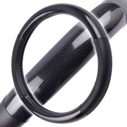 "Motor Trend Black Carbon-Fiber Synthetic-Leather Grip Steering Wheel Cover 13.5""-14.5"""