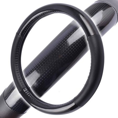 Motor Trend Black Carbon-Fiber Synthetic-Leather Grip Steering Wheel Cover 13.5