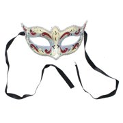 Mona Lisa Eye Costume Mask: Silver/Red