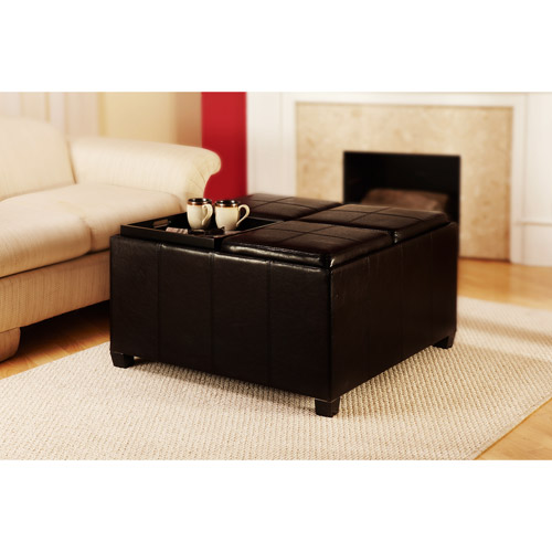 Designs4Comfort Faux Leather Cocktail Storage Ottoman with 4 Tray Tops, Espresso