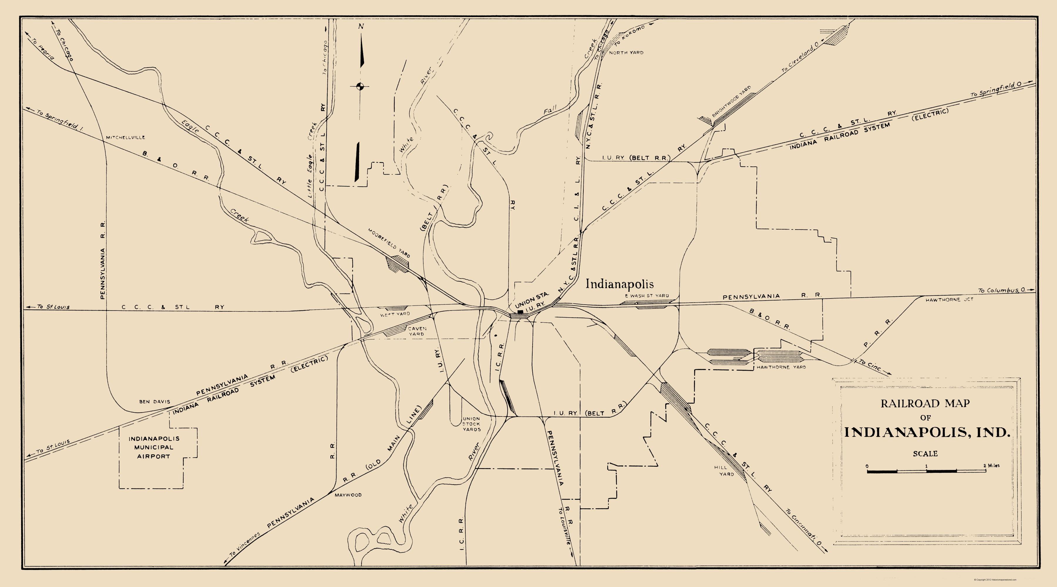 Old Railroad Map Indianapolis Indiana Railroad Map Monon Railway