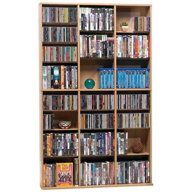 Oskar Media Tower 756 CD or 360 DVD or Blu-Ray or Games with Wood Cabinet in Maple