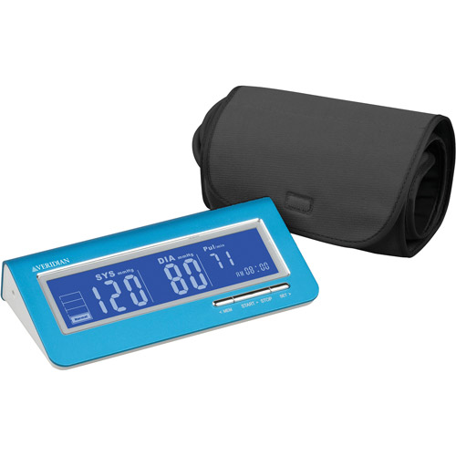 Brushed Aluminum Deluxe Arm Digital Blood Pressure Monitor, Blue
