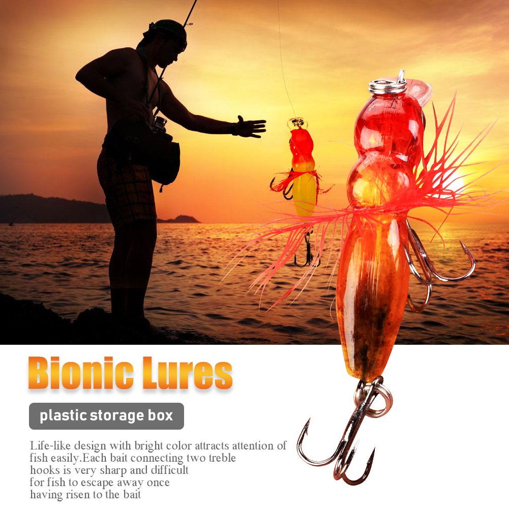 5Pcs Artificial Fishing Bait Bee-shaped Lures Carbon Steel Treble Hooks Tackle Accessory, Artificial Bait, Fishing Bait... by