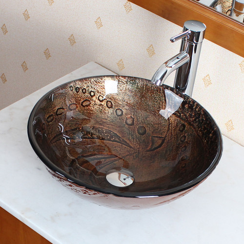 Elite Systems Hot Melted Rock Pattern Glass Bowl Circular Vessel Bathroom Sink