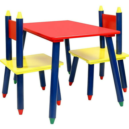 Click N' Play Kids Wooden Crayon Themed Table And Chair Set. (Wooden Play Table)