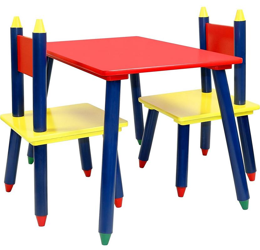 Click N' Play Kids Wooden Crayon Themed Table And Chair Set.