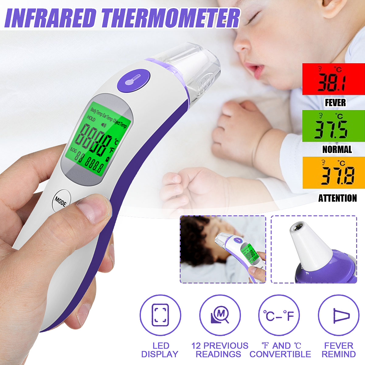 Professional Medical Digital NON-Contact fever thermometer BODY COMFORT BC 07