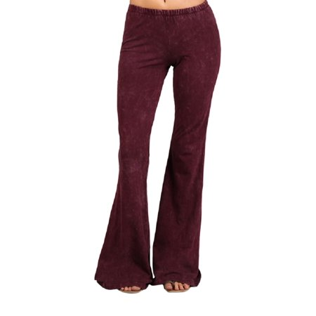 2Chique Boutique Women's Burgundy Mineral Washed Bell Bottom Pants (medium) - Bell Bottom