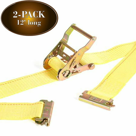 2Pk E Track Ratcheting Straps Cargo TieDowns, 2 x 12 Heavy Duty Yellow Polyester Tie-Down Straps, Strong Ratchet, ETrack Spring Fittings, Tie Down Motorcycle, Trailer Load, by DC Cargo Mall (2)