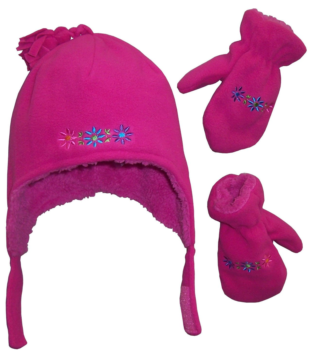 N/'Ice Caps Little Boys and Baby Sherpa Lined Fleece Embroidered Hat Mitten Set 1